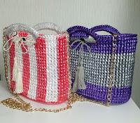 お出かけバッグのデザイン展開第3弾です,crochet bag of PE tape,fashion items,すずらんテープの鈎編みバッグ,ファッションアイテム,PE塑料带的钩针编织包包,服饰流行