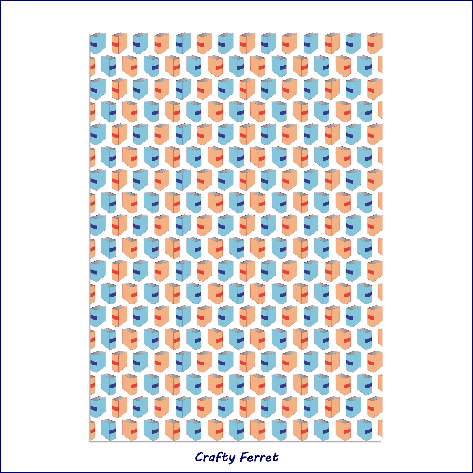 A4 printable orange and teal books craft backing paper.