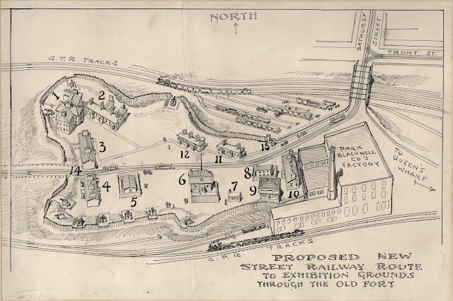 Proposed New Street Railway Route to Exhibition Grounds Through The Old Fort, 1905, attributed to Owen Staples