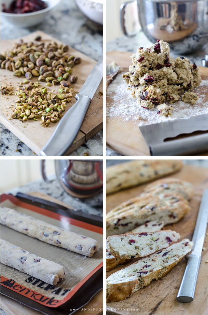 Steps to making Cranberry Pistachio Biscotti