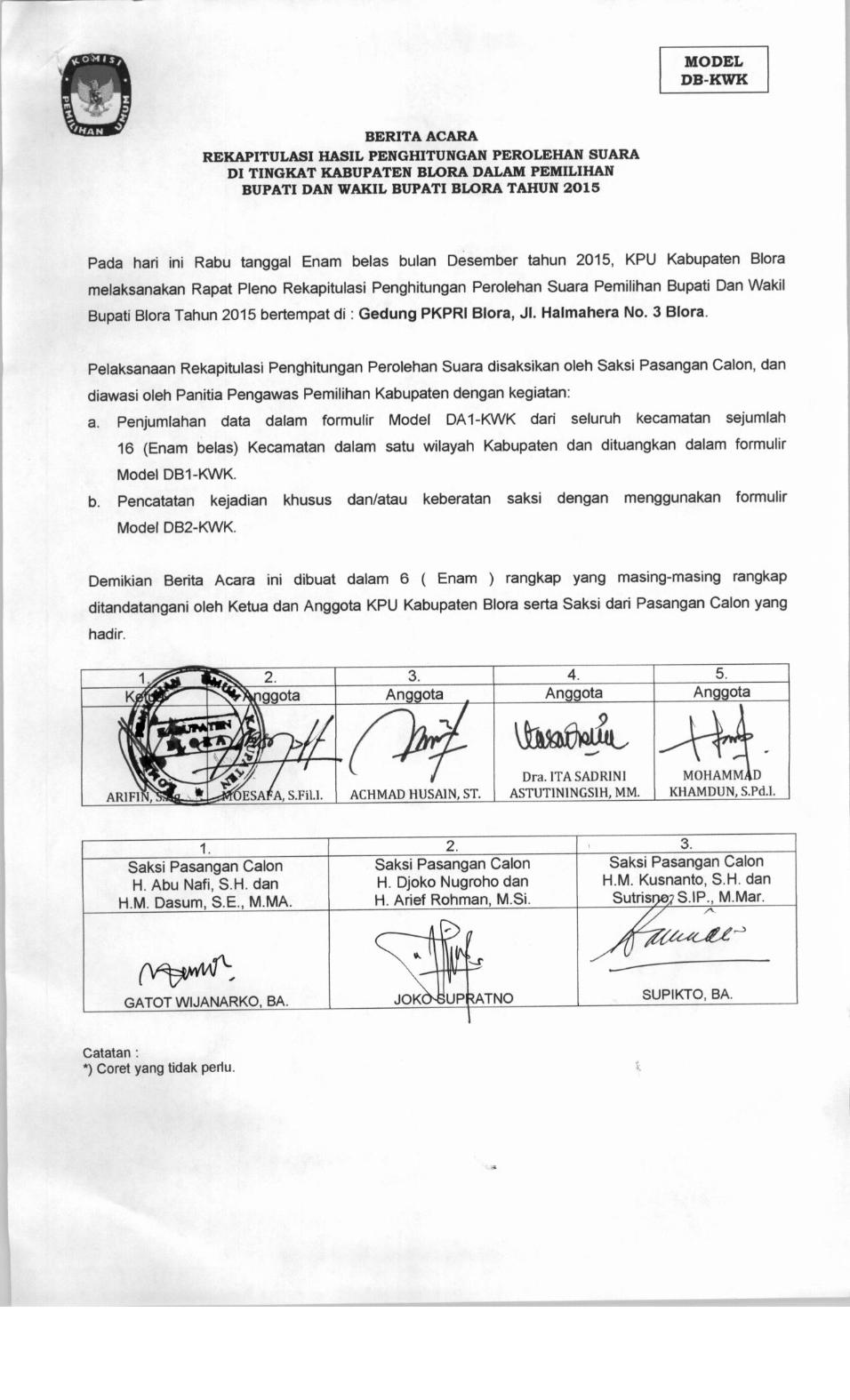 Panitia Pengawas Pemilihan Kabupaten Blora Desember 2015