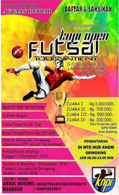 Event Batang | 19-20 November 2016 | Turnamen Futsal KNPI Open