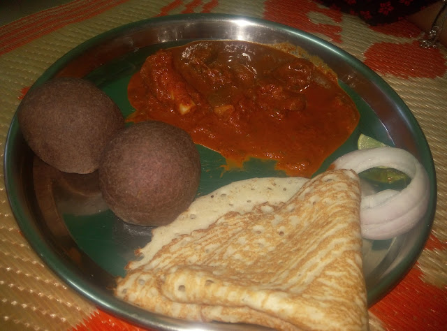Ragi Mudde Recipe Finger Millet with Spicy Mutton Curry Gravy Indian  with Lemon Onion with Dosa