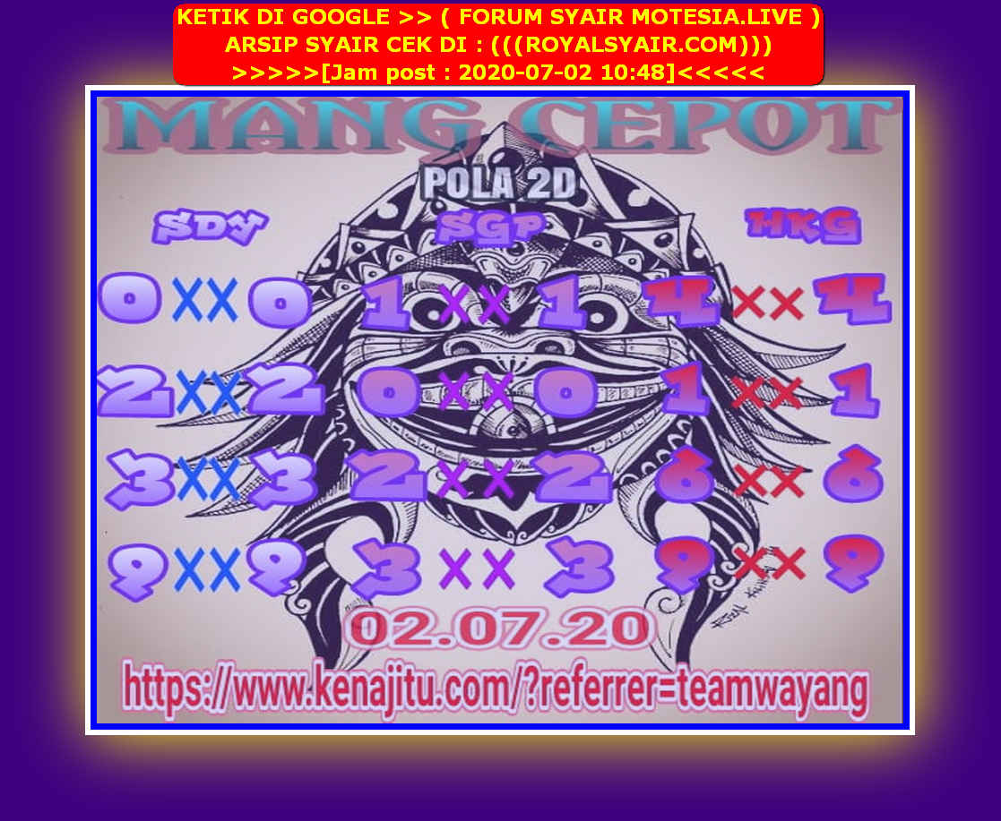 Kode syair Sydney Kamis 2 Juli 2020 26