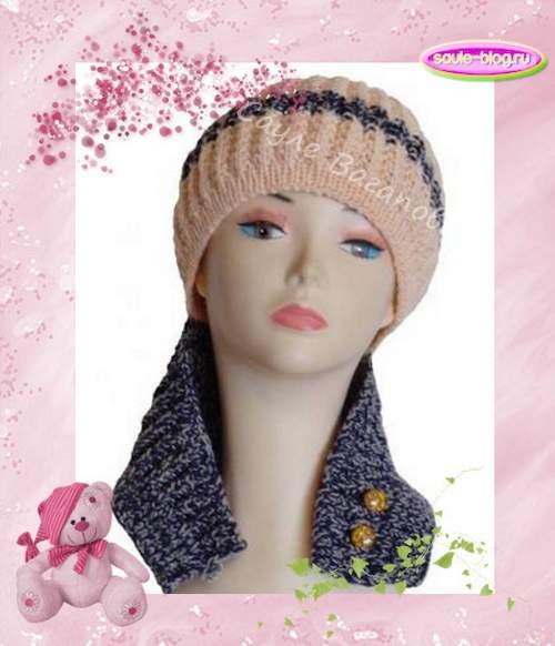 Теплая вязанная шапочка