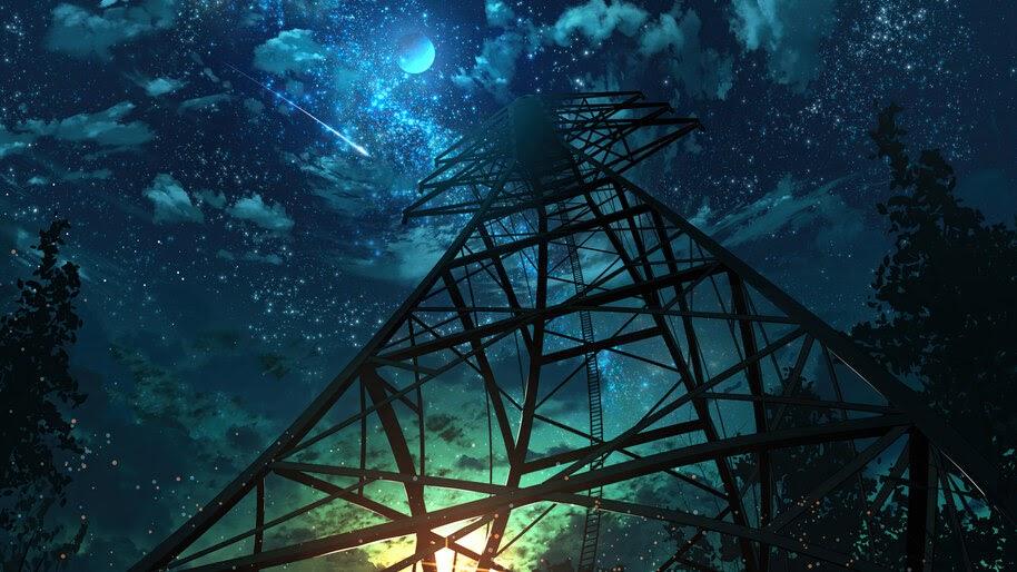 Night, Sky, Stars, Anime, Scenery, 4K, #6.1303
