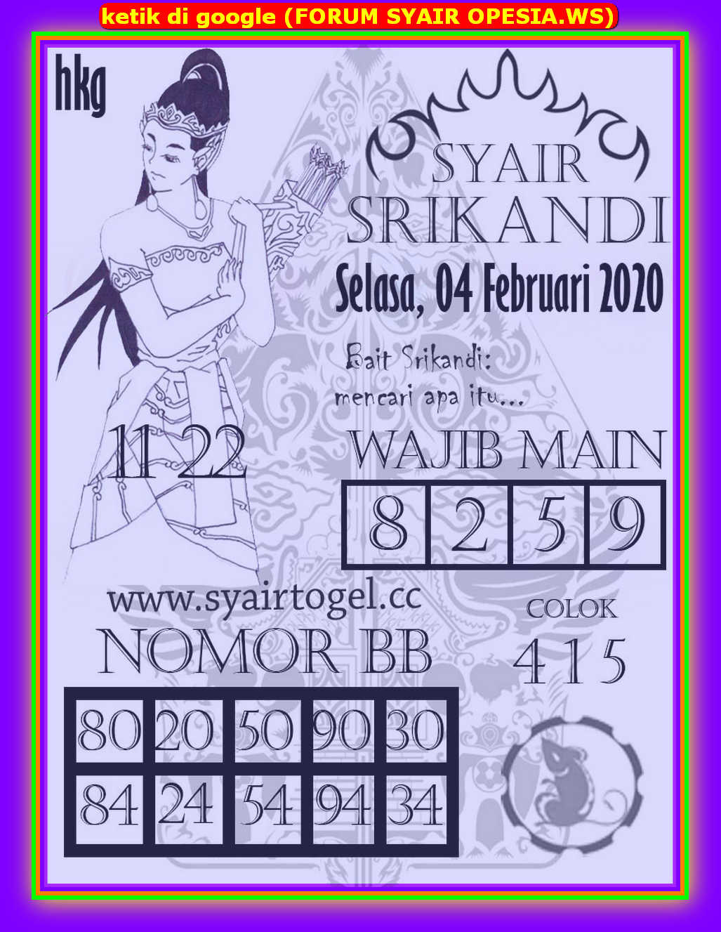 Kode syair Hongkong Selasa 4 Februari 2020 145