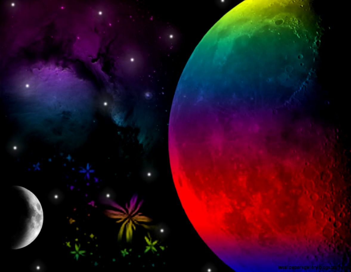 Abstract Rainbow Moon Wallpaper