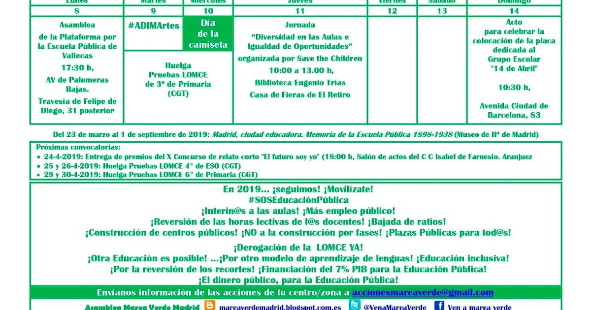 Calendario Escolar Barcelona.Mareaverde Calendario De Acciones Marea Verde Madrid Para La Semana