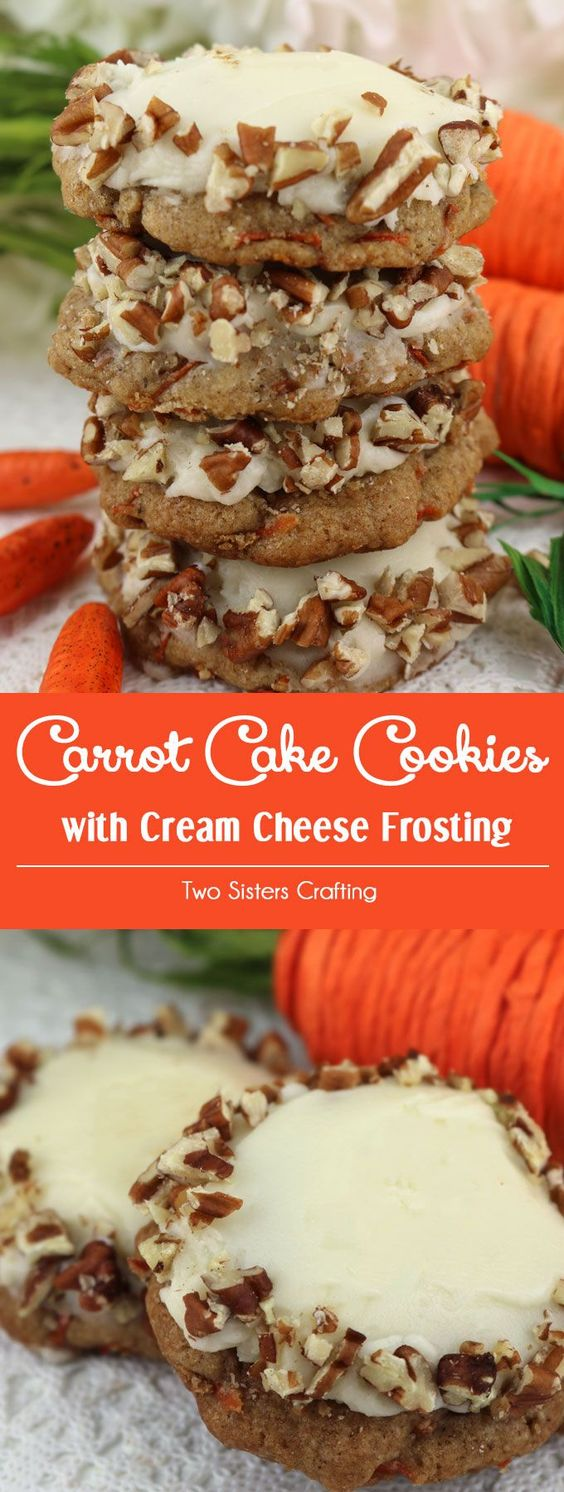 CARROT CAKE COOKIES WITH CREAM CHEESE FROSTING