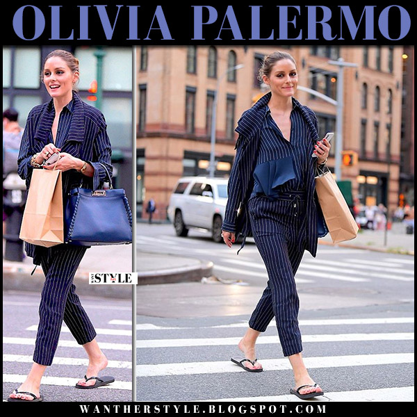 Olivia Palermo in blue pinstripe jacket and cropped pants max and co summer street style july 20