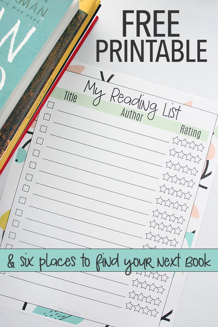 Find your next favorite book and organize your to read list with this free printable reading list! Perfect to add to your planner or for book clubs, it lets you remember and rate books as you go. Read | Reading | Book Club | Planner Pages | Organizer