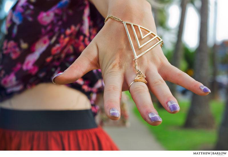 gold aztec hand chain