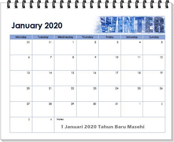 Kelender 2020 Bulan Januari