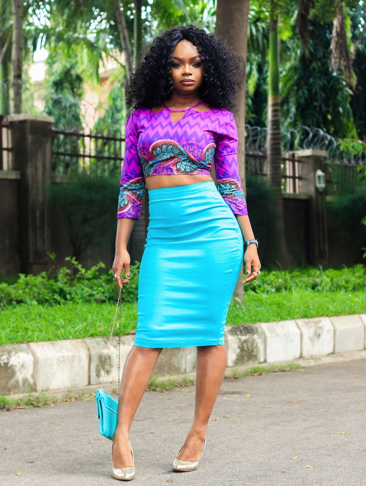 ANKARA & TEAL MIX - African Print Top with Teal colored Skirt and Purse