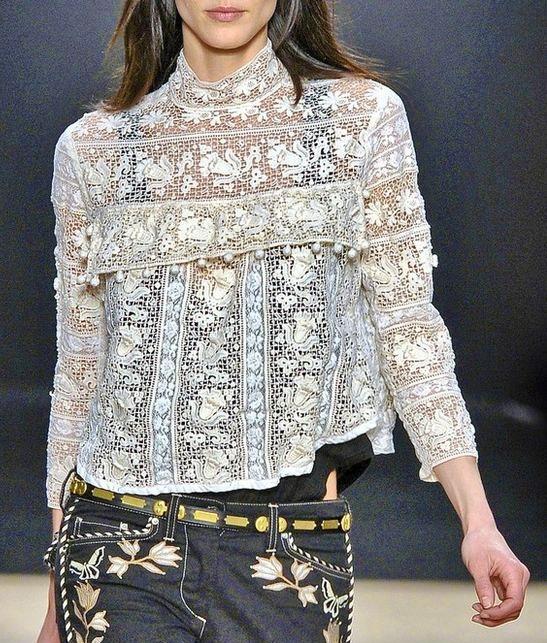 bluzka koronowa z szablonem