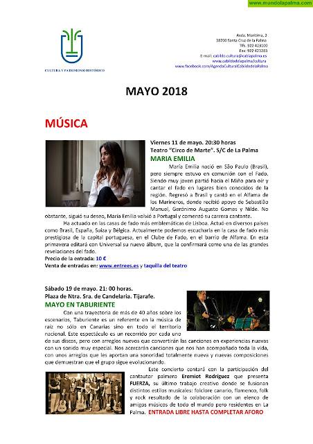 Agenda cultural del Cabildo de La Palma para el mes de mayo de 2018