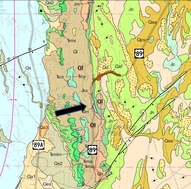 Arizona Geology Usgs Geologic Map Of Us 89 Bitter Springs Landslide