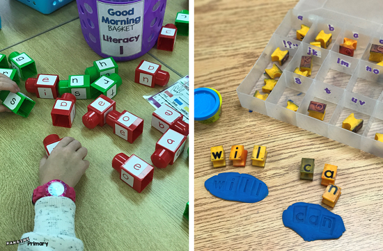 Word building with lego or playdoh and stamps is a great morning tub activity that requires not paper