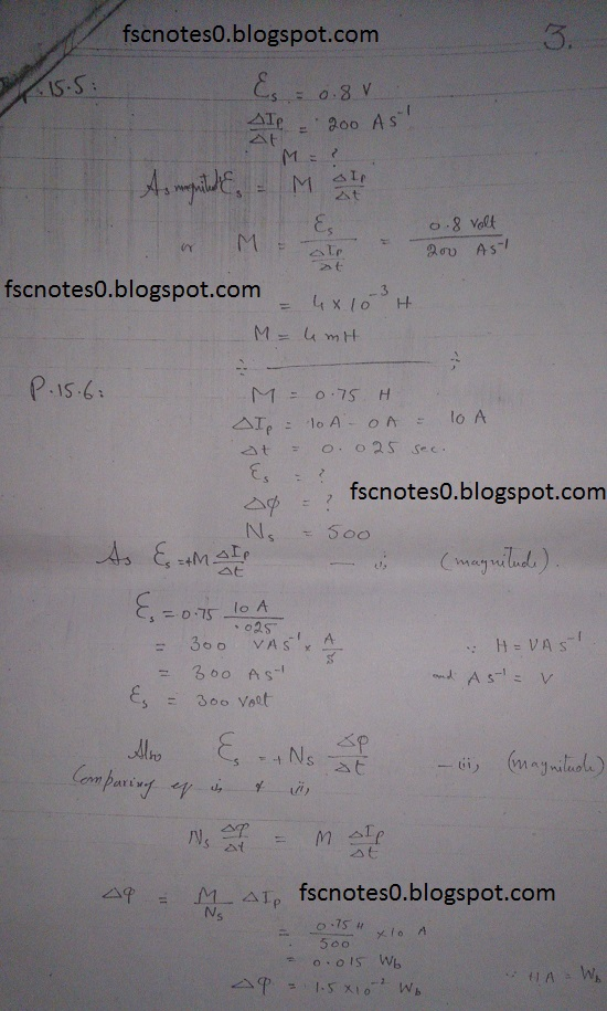 F.Sc ICS Notes: Physics XII: Chapter 15 Electromagnetic Induction Numerical Problems Asad Hussain 2
