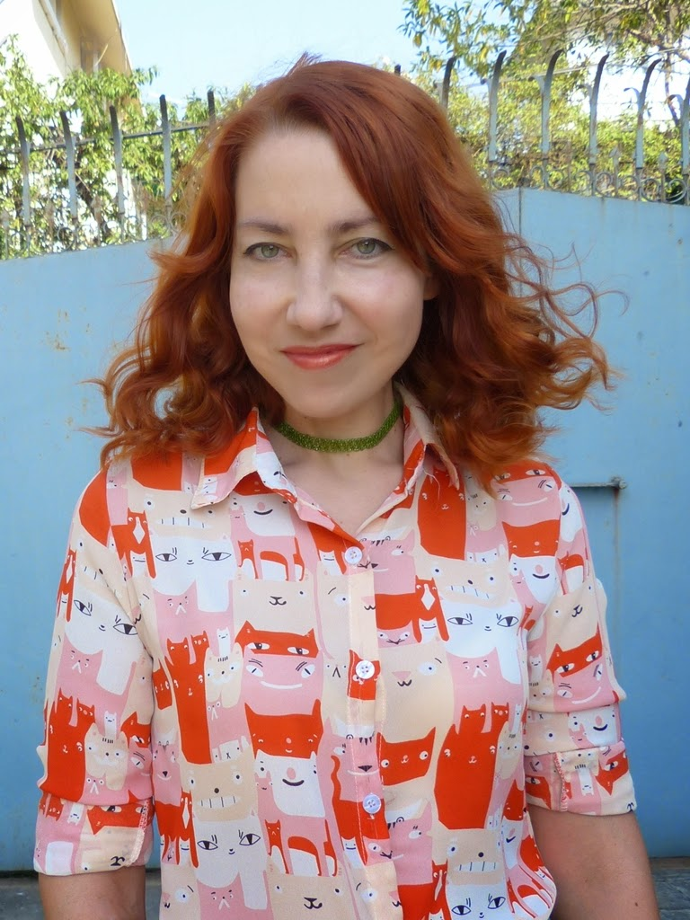 Orange cats blouse
