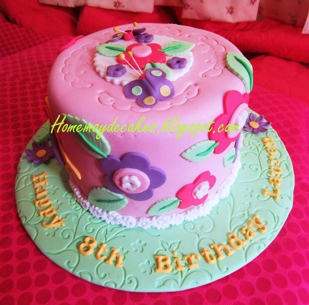 Showcase Simple Butterfly And Flower Design On Cake