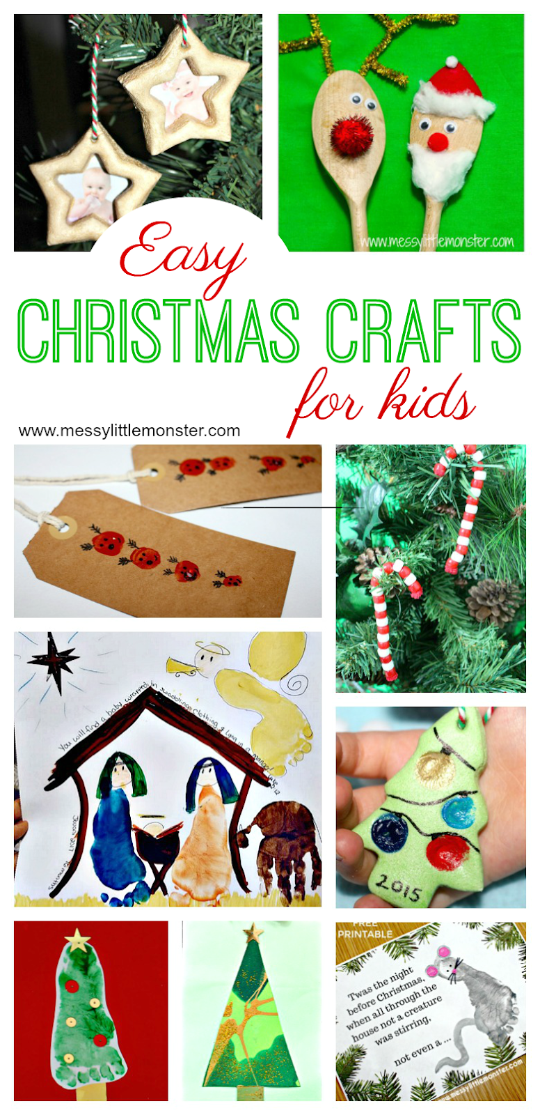 Easy Christmas crafts for kids. Preschool Christmas crafts.