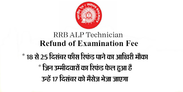 (Railway) RRB / ALP and Technician Exam Fees will be refunded. | RRB Exam 2018