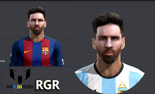 Face Lionel MESSI + HD Tattoo Pes 2013 by Rgr DS