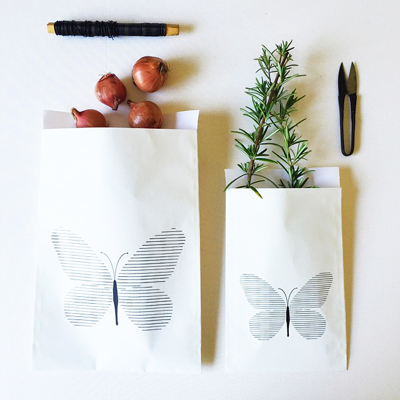 Graphic design, butterfly bag, black and white butterfly