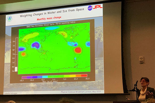 UCI Professor Isabella Velicogna explains how GRACE can track weight of worldwide rainfall at breakfast lecture (Source: Palmia Observatory)