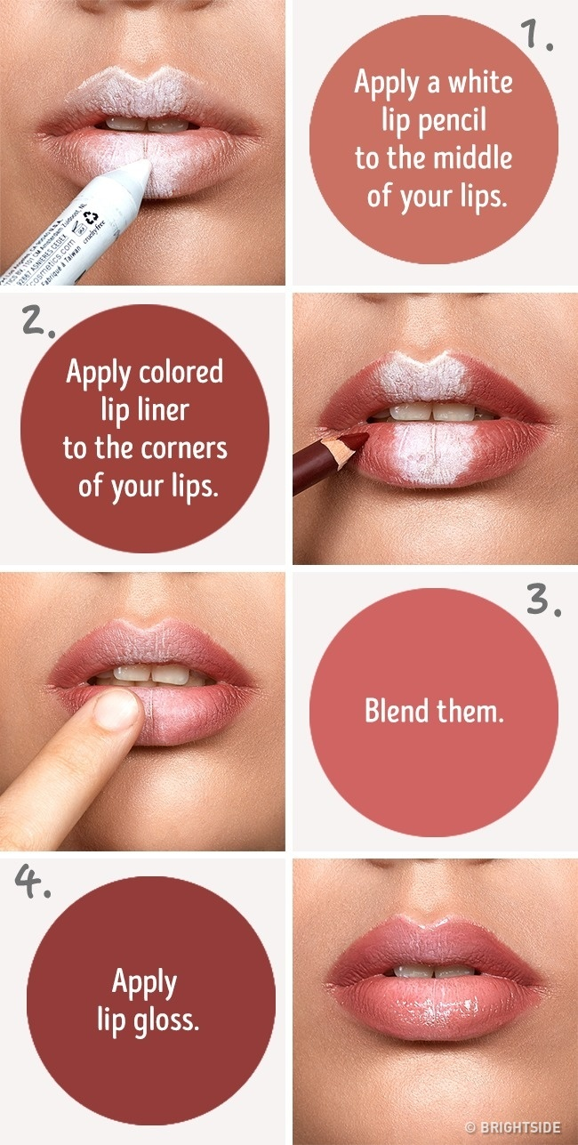 Make your lips fuller using white pencil