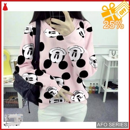 AFO654 Model Fashion Sweater Mickey Pink LD 100 Murah BMGShop