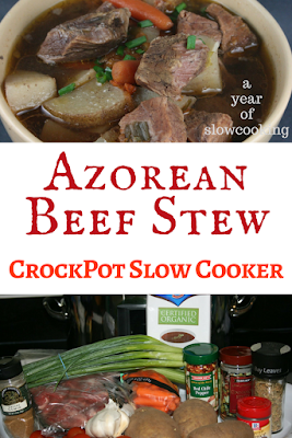 Azorean Beef Stew Recipe made in the CrockPot Slow Cooker. Traditional Portuguese recipe that is naturally gluten free, packed with flavor -- no more boring beef stews!