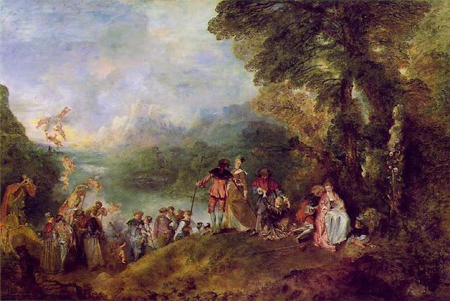 Antoine Watteau 1684-1721 : L'embarquement pour Cythère , le plus connu des tableaux de Watteau.