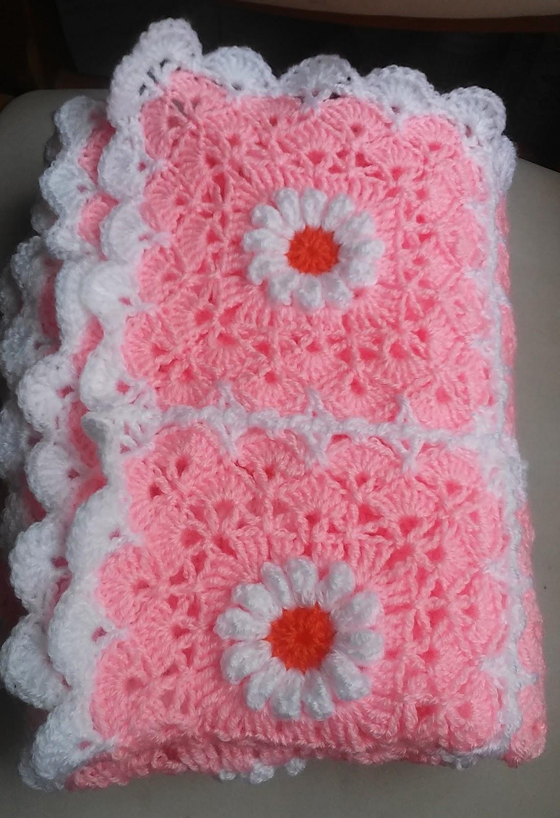 Crochet Daisy Baby Blanket Pattern : Crochet & Knitting: Pink Daisy Baby Blanket