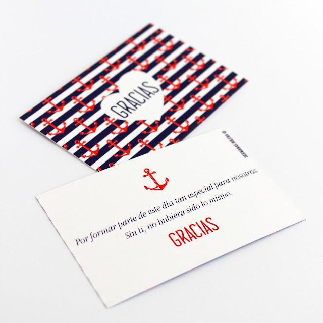 tarjetas de agradecimiento bodas marineras
