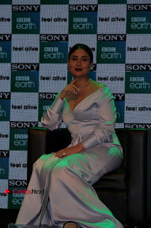 Bollywood Actress Kareena Kapoor Stills in Beautiful Silk Long Dress at Sony BBC Earth New Channel Launch  0016.jpg