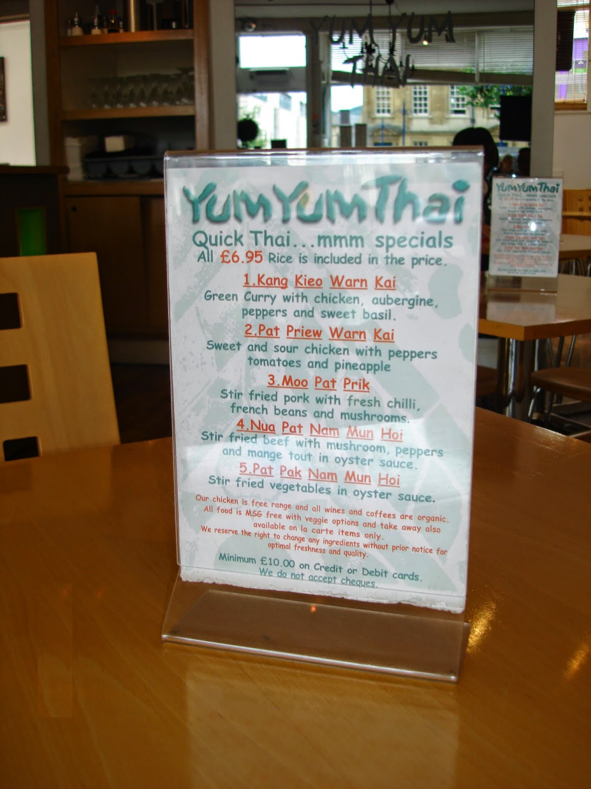 yum yum thai restaurant, lunch menu, Bath