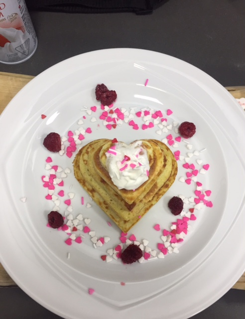 Valentine's Day pancake breakfast in bed; hearts; love