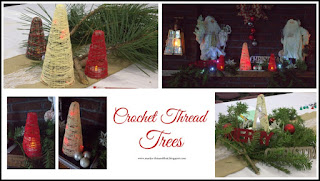 Decorate your mantle of table with trees made from crochet thread.  Add battery lights from the Dollar tree to make more festive.
