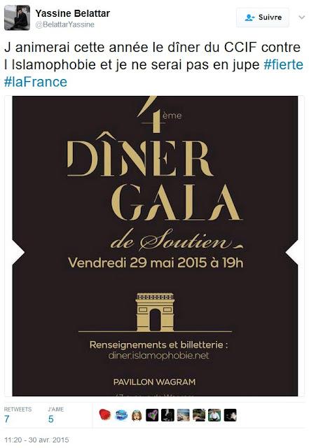 Yassine Belattar annonce sur Twitter qu'il animera le dîner de gala du CCIF