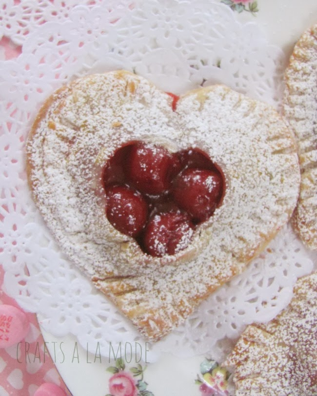 heart shaped pies filled with cherry pie filling