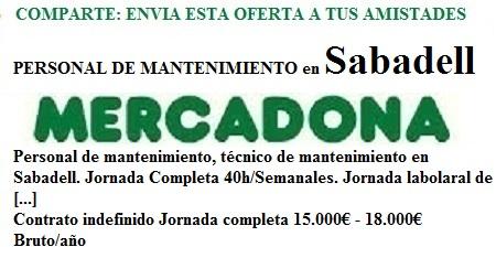 Sabadell, Barcelona. Lanzadera de Empleo Virtual. Oferta Mercadona