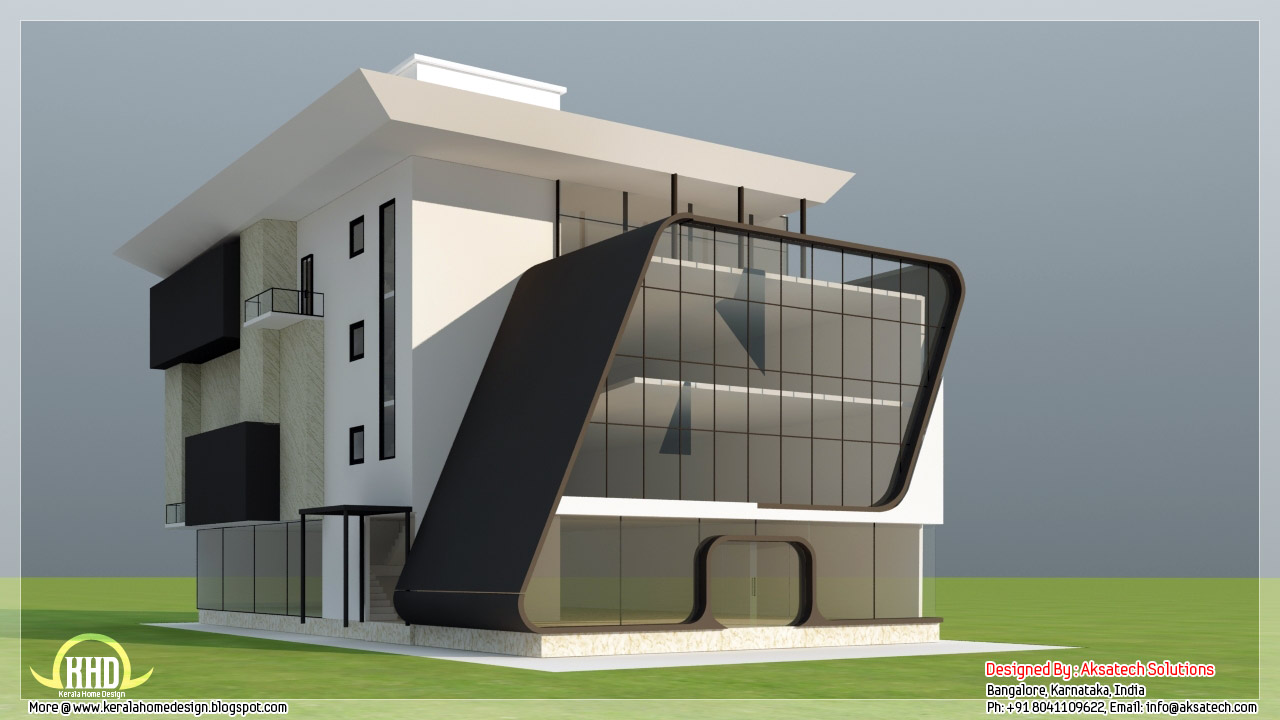 Mix collection of 3d home elevations and interiors for House elevation for three floors building