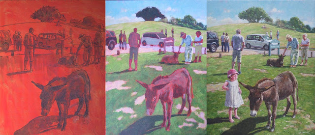 painting stages of Boultons Bench, New Forest WIP