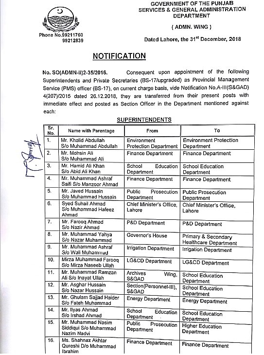 TRANSFERS / POSTINGS OF SUPERINTENDENTS, PRIVATE SECRETARIES AND PMS OFFICERS