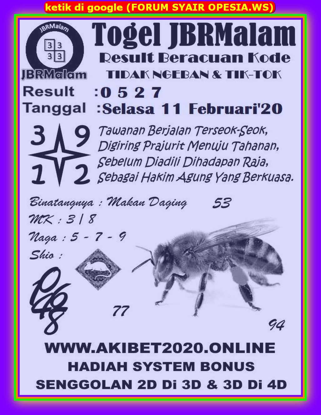 Kode syair Hongkong Selasa 11 Februari 2020 72