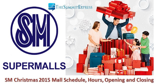 SM Christmas 2015, New Year Mall Hours Schedule