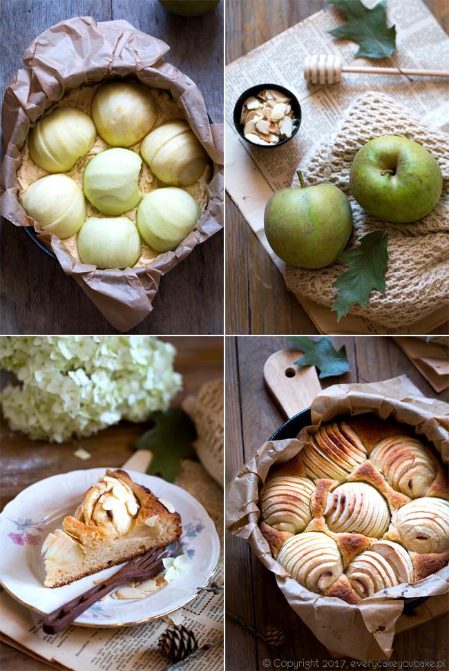 ucierane ciasto z jabłkami i marcepanem